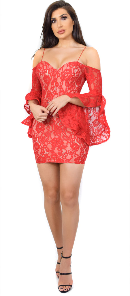 Zeta Red Lace Off Shoulder Bell Sleeve Dress - Emprada