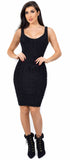 Bibi Black Fuzzy V Neck Midi Dress - Emprada