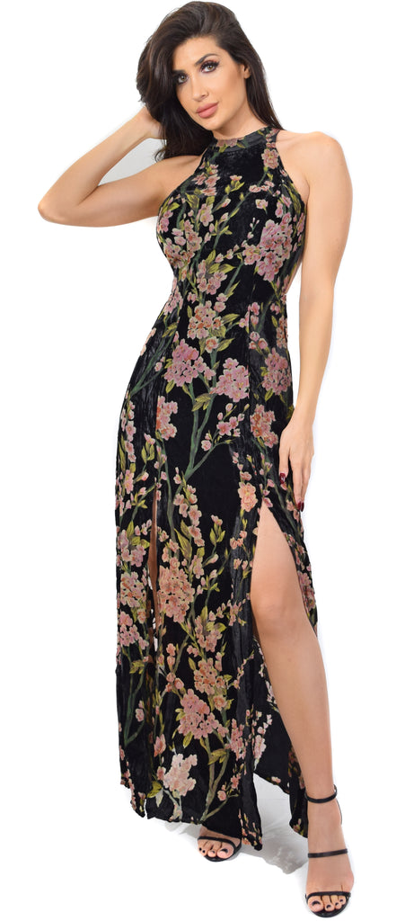 Blair Black Velvet Blossom Slit Maxi Dress - Emprada