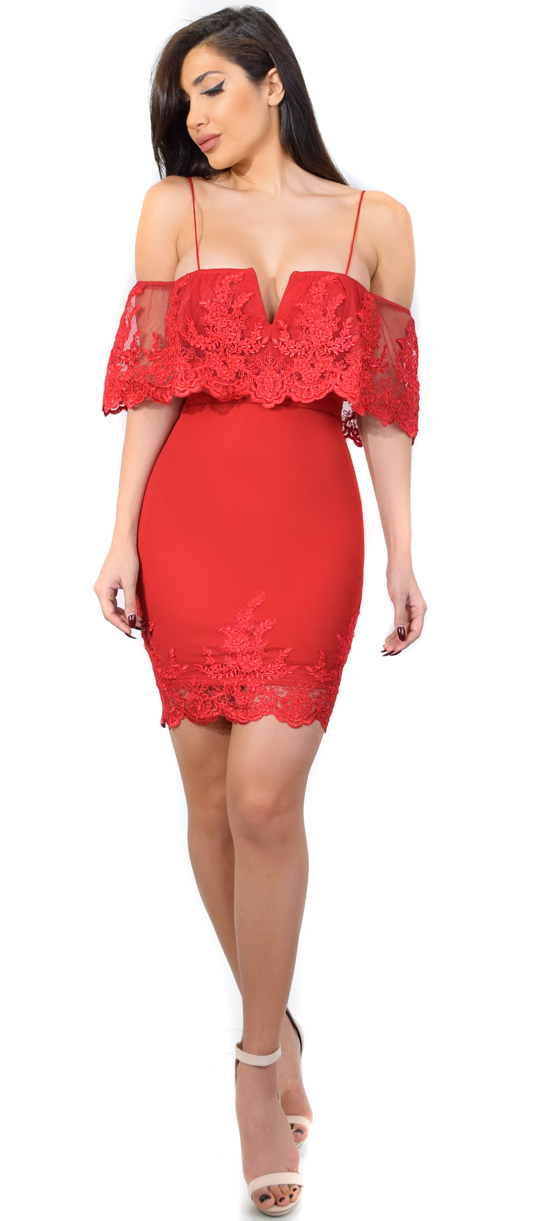 Arcelia Red V Lace Mesh Flounce Dress - Emprada