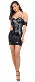 Alissa Black Silver Cold Shoulder Sequin Dress - Emprada
