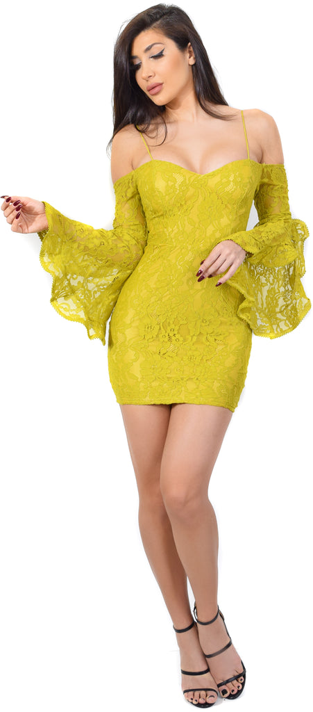 Zeta Mustard Lace Off Shoulder Bell Sleeve Dress - Emprada