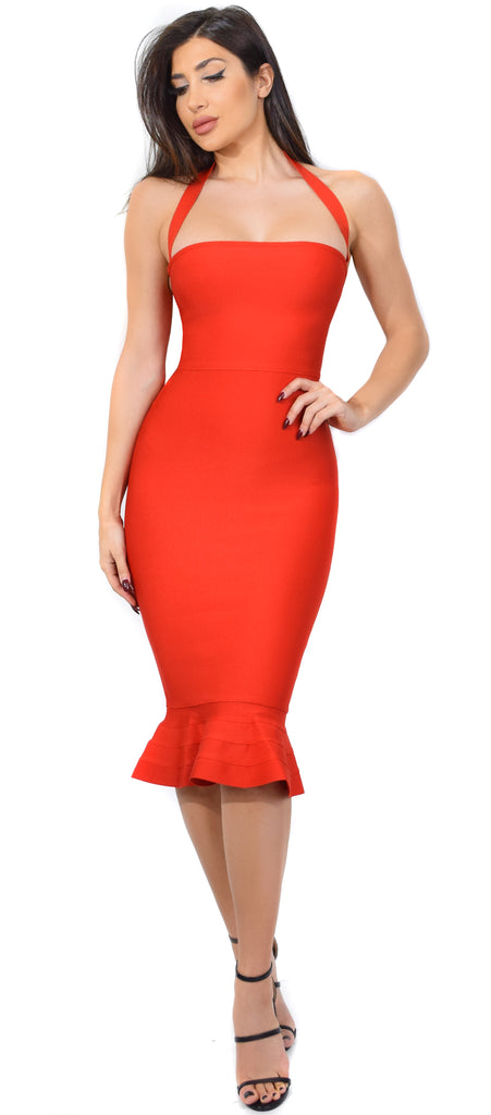 Kayden Red Mermaid Bandage Dress