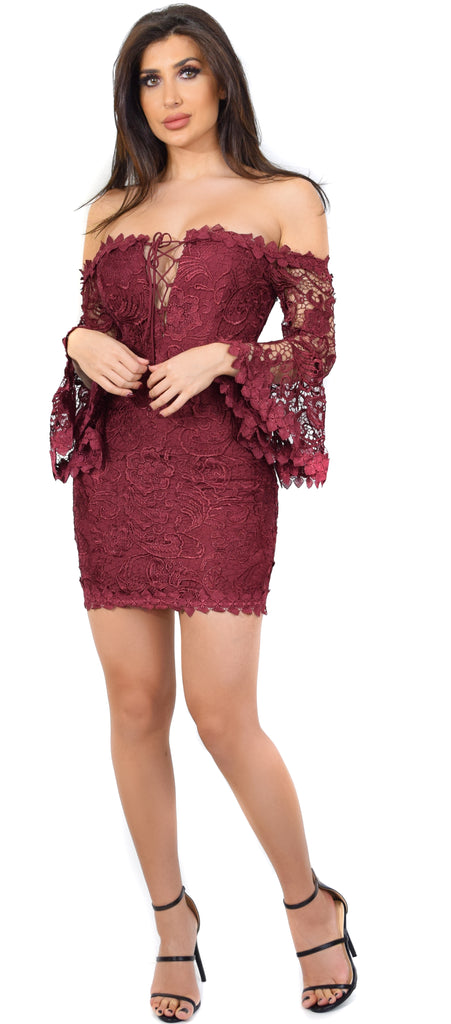 Lula Wine Crochet Lace Off Shoulder Dress