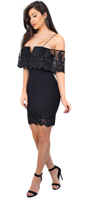 Arcelia Black V Lace Mesh Flounce Dress - Emprada