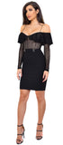 Evon Black Off Shoulder Lace Flounce Dress