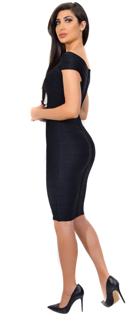 Neoma Black Cross Over Off Shoulder Bandage Dress - Emprada