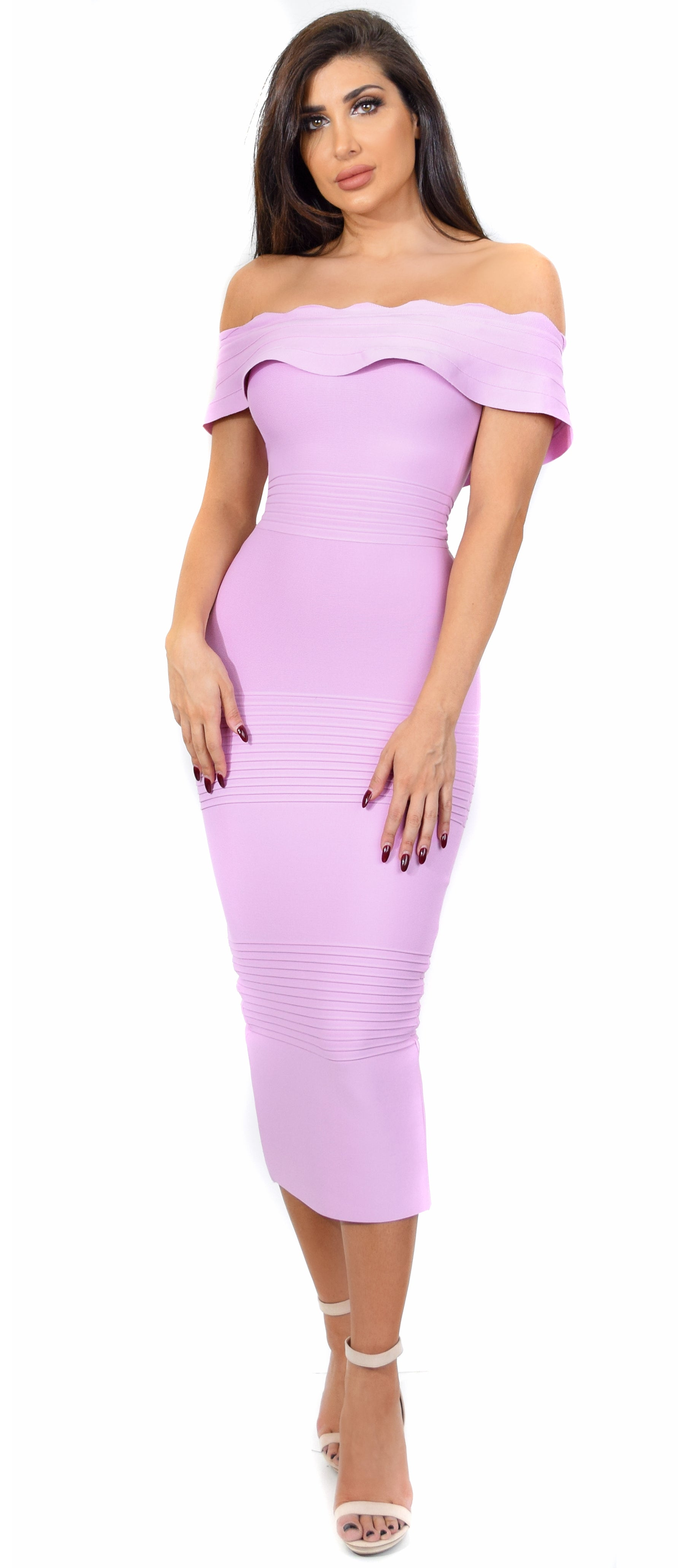 Simona Pink Off Shoulder Bandage Dress - Emprada