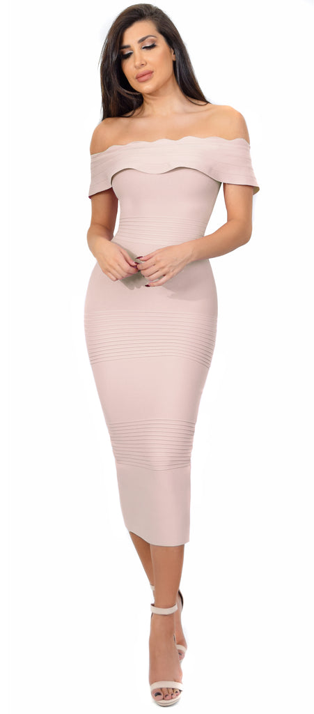 Simona Taupe Off Shoulder Bandage Dress - Emprada