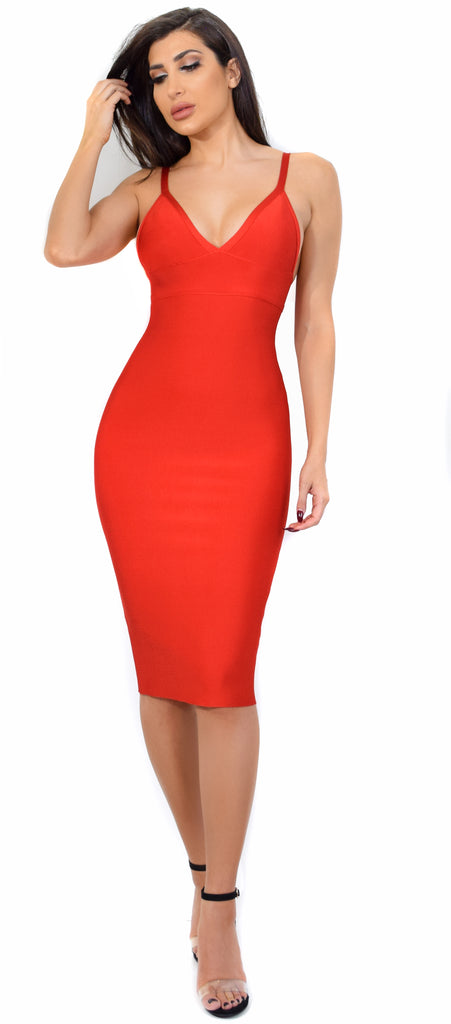 Starla Red V Neck Bandage Midi Dress - Emprada