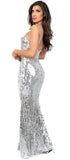 Gloriya Silver Sequin Mermaid Maxi Dress