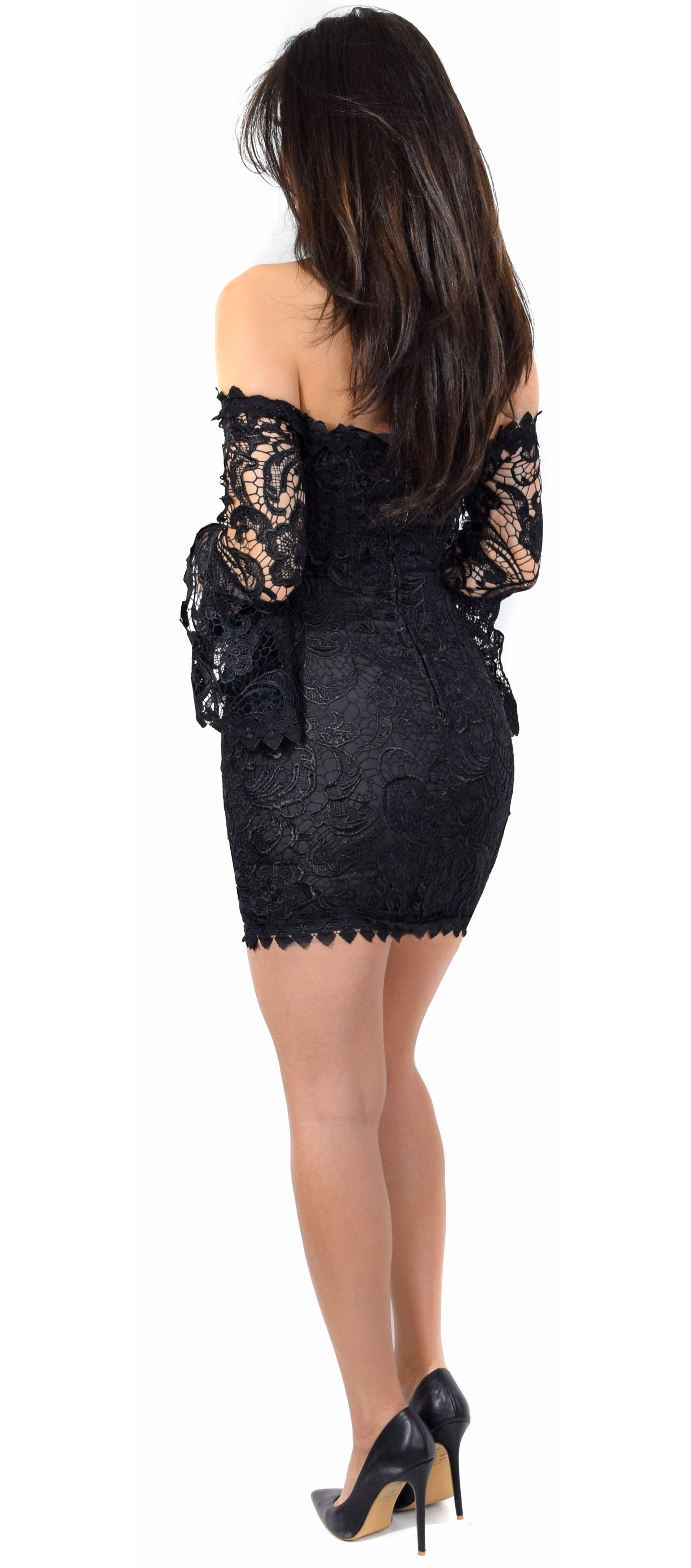 Lula Black Crochet Lace Off Shoulder Dress