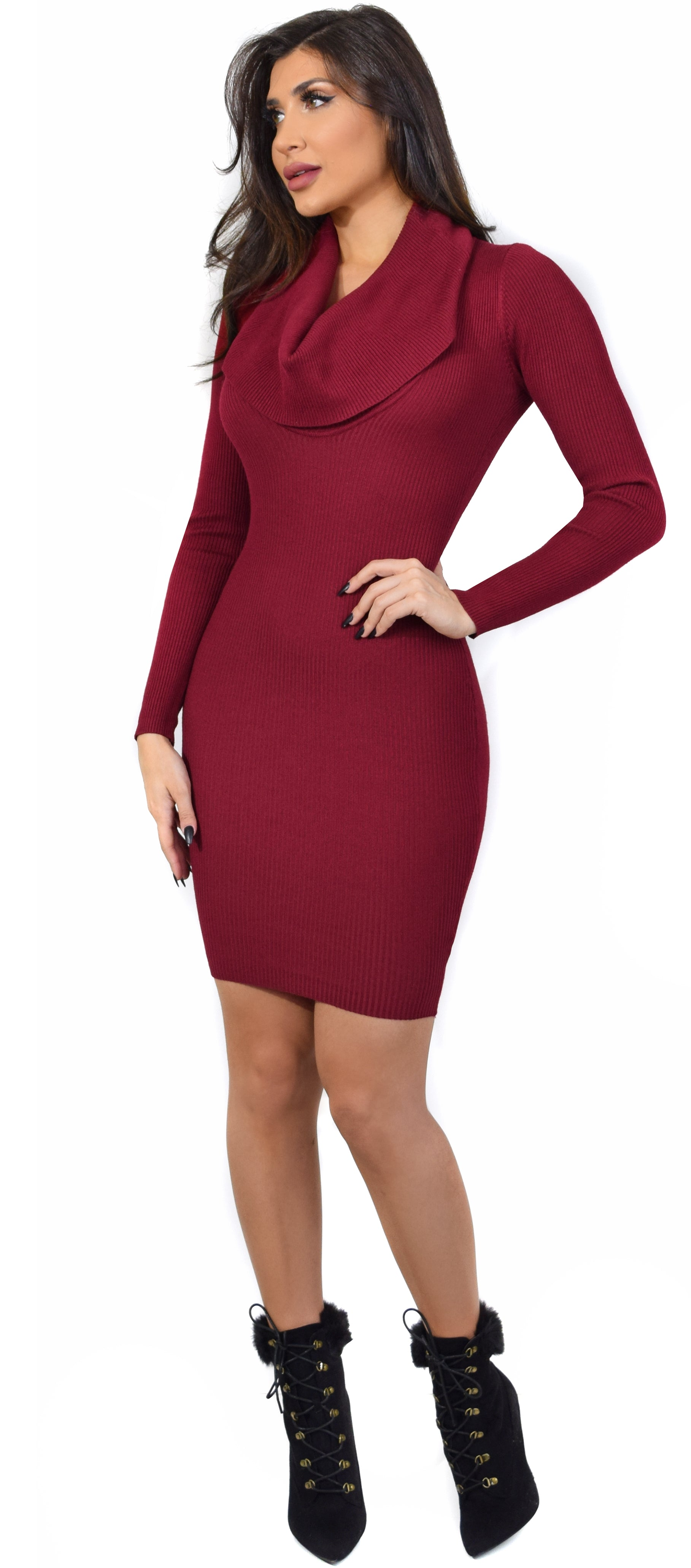 Cindie Burgundy Front Drape Sweater Dress