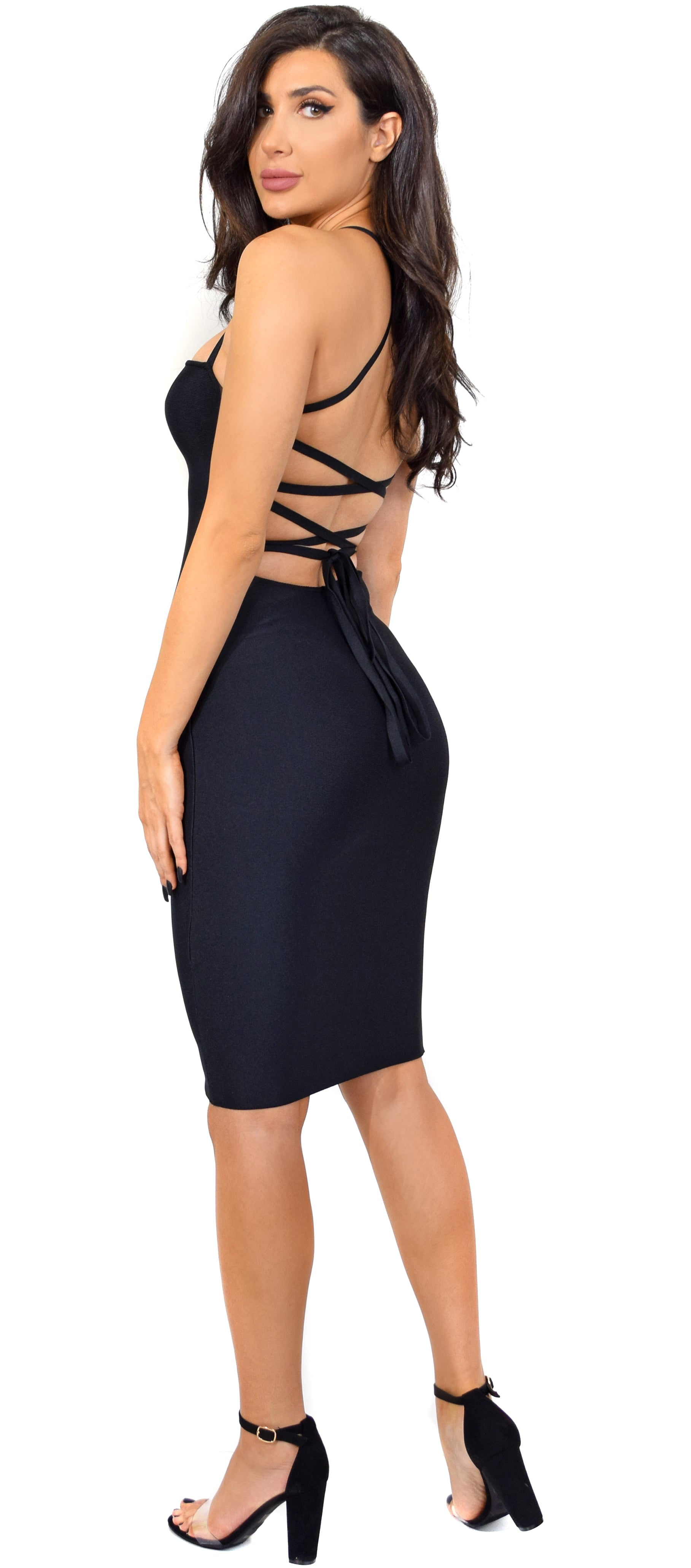 Maybelle Black Cross Back Bandage Dress - Emprada