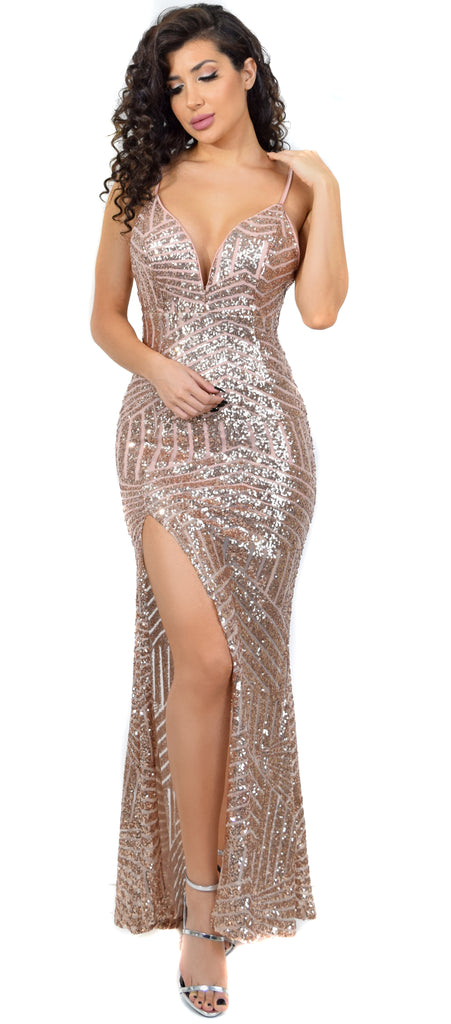 Madonna Rose Gold Sequin Gown – Emprada