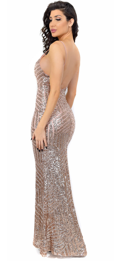 Madonna Rose Gold Sequin Gown