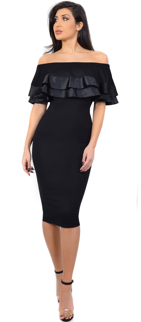 Denisa Black Ruffle Off Shoulder Midi Dress - Emprada