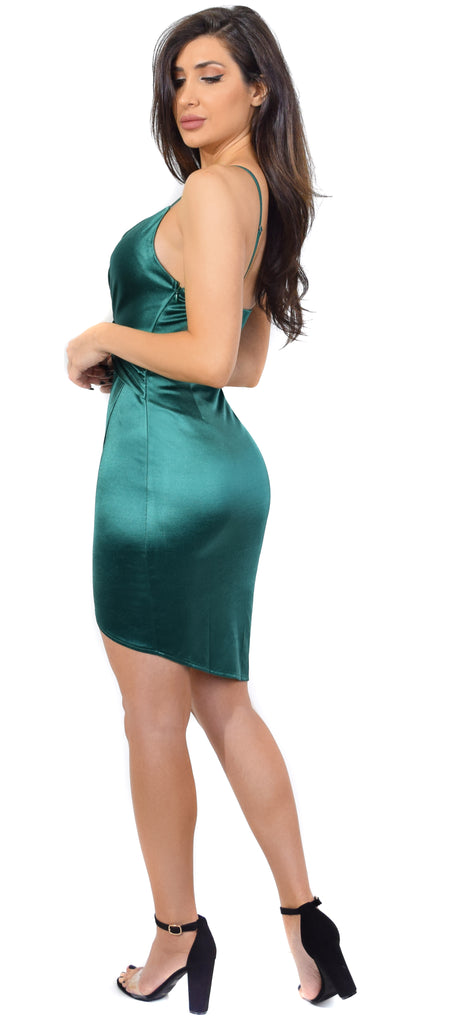 Amya Green Satin V-Neck Knotted Waist Dress - Emprada