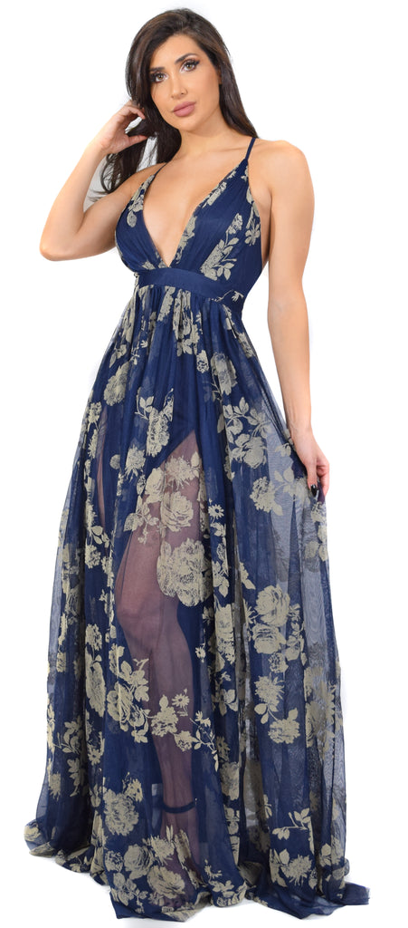 Claudia Floral Blue Mesh Velvet Detail Maxi Dress - Emprada