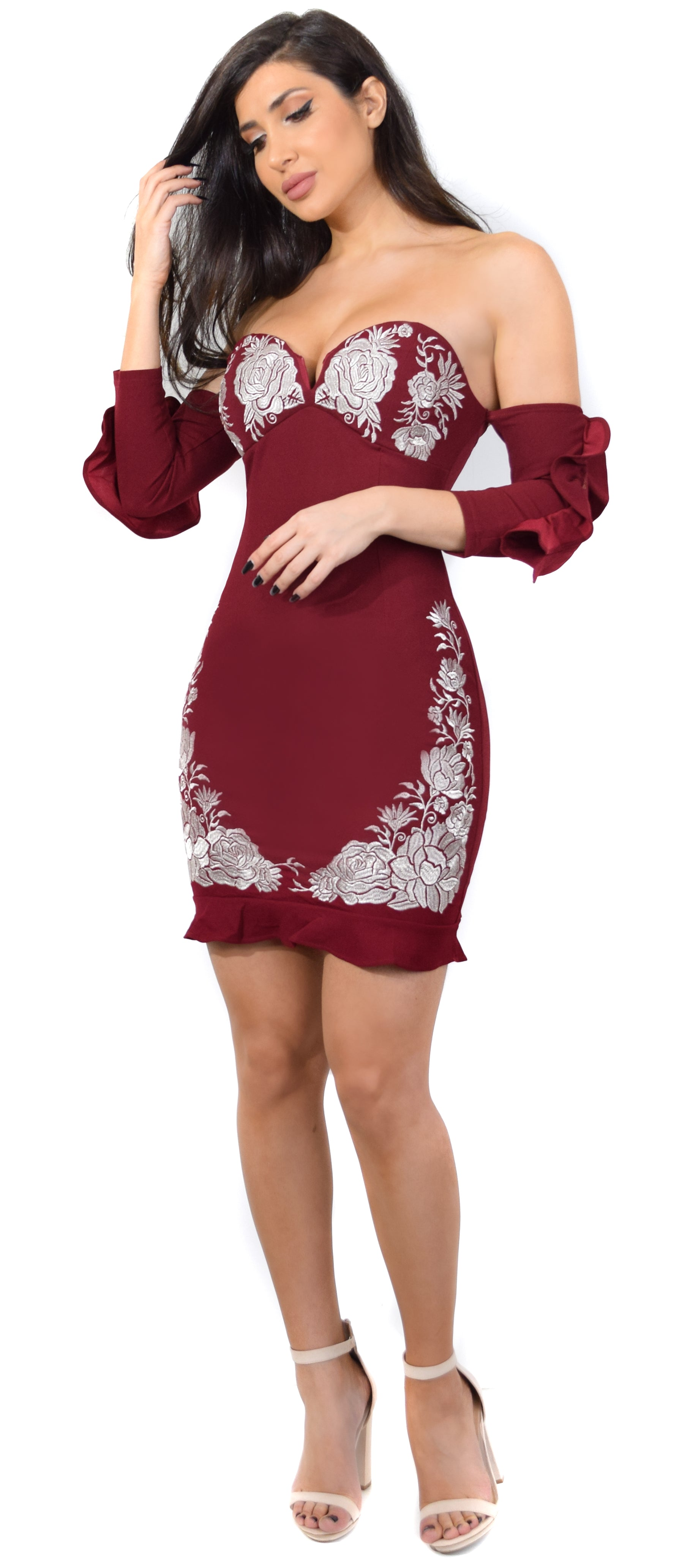 Sorrenta Wine Off Shoulder Embroidered Dress - Emprada