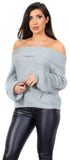 Oriana Grey Off Shoulder Sweater