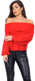 Oriana Red Off Shoulder Sweater