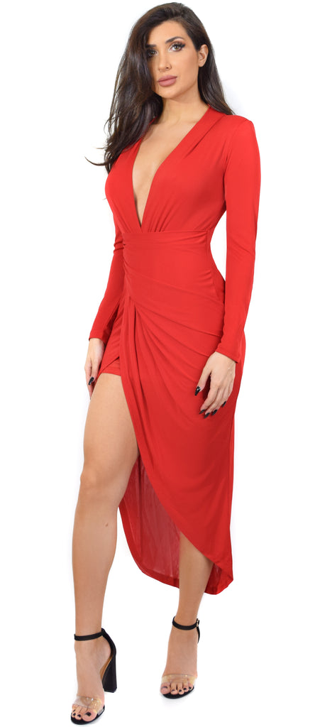Jemma Red Deep Plunge Wrap Dress – Emprada ee565e2bc57a