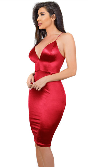 Lux Scarlet Red Satin Lace Up Dress
