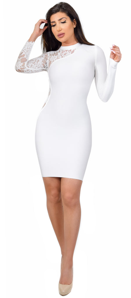 Lena White Mock Neck Lace Arm Bandage Dress