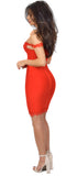Teresa Red Lace Trim Off Shoulder Bandage Dress - Emprada