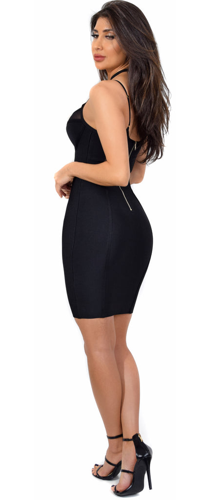 Vicki Black Strappy Mesh Trim Bandage Dress - Emprada