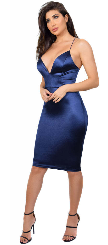 Elektra Navy Satin Midi Dress - Emprada