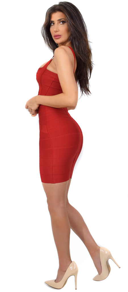 Cynthia Deep Red Bandage Dress - Emprada