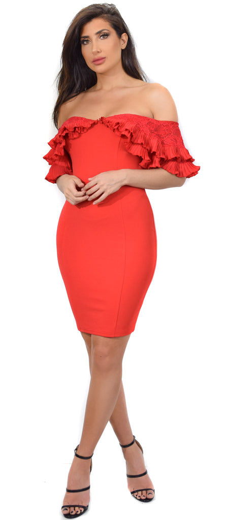 Leah Red Ruffle Off Shoulder Dress