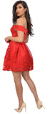 Velma Bright Red Off Shoulder Knit Crepe A-Line Dress