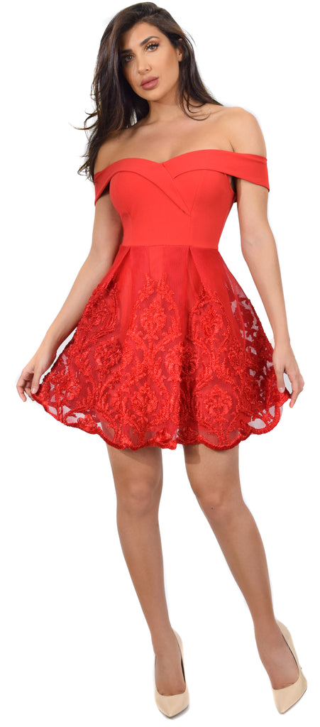 Velma Bright Red Off Shoulder Knit Crepe A-Line Dress - Emprada