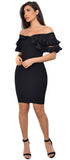 Leah Black Ruffle Off Shoulder Dress