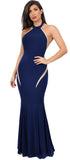 Tosci Navy High Neck Mermaid Gown