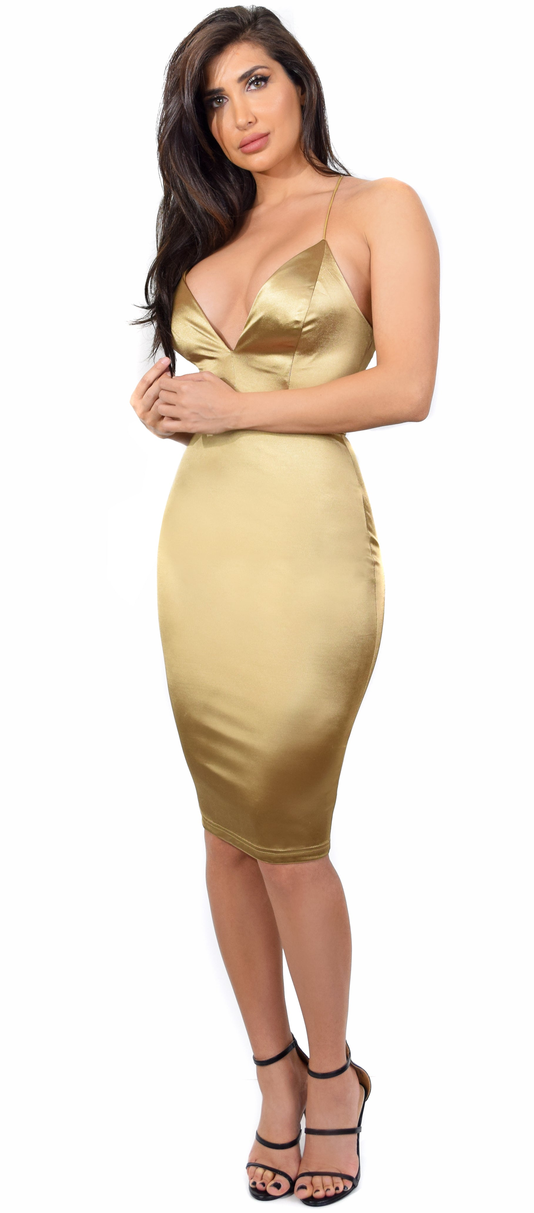 Elektra Gold Satin Midi Dress - Emprada