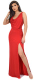 Narelle Red Drape Neck Slit Gown
