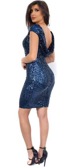Pam Navy Teal Sequin Drape Back Dress