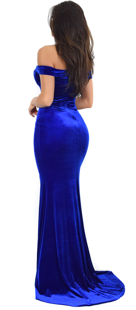 Perza Royal Blue Off Shoulder Velvet Gown