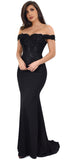 Solaine Black Off Shoulder Lace Detail Gown - Emprada