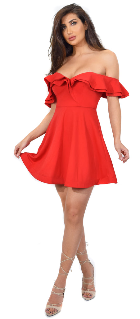 Annice Red Off Shoulder Flare Ruffle Dress - Emprada
