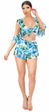 Peru Blue Ruffle Floral Two Piece Set Dress