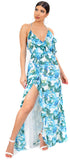 Palma Blue Floral Wrap Ruffle Maxi Dress