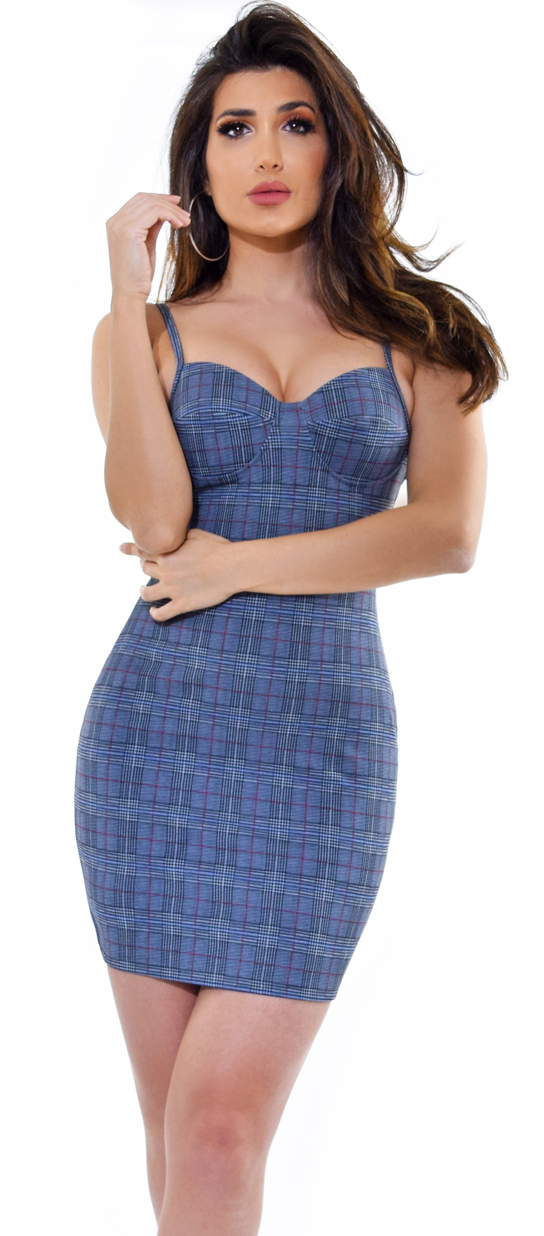 Shanna Grey Checked Bustier Dress - Emprada