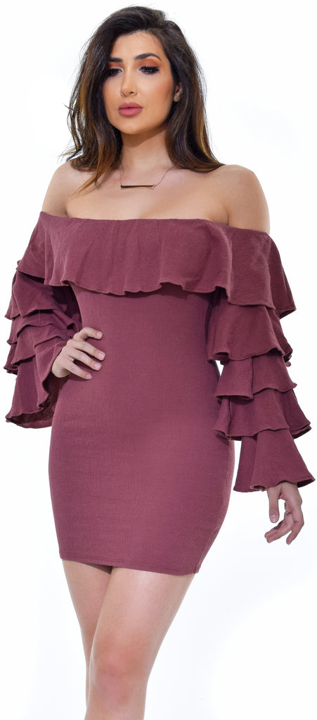 Spanish Paradise Rosewood Off Shoulder Ruffle Crinkle Dress - Emprada