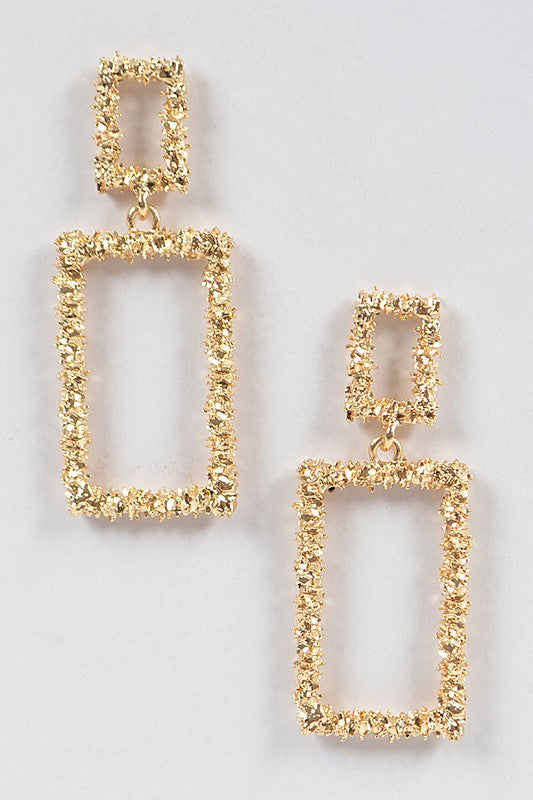Rectangle Textured Gold Dangling Earrings