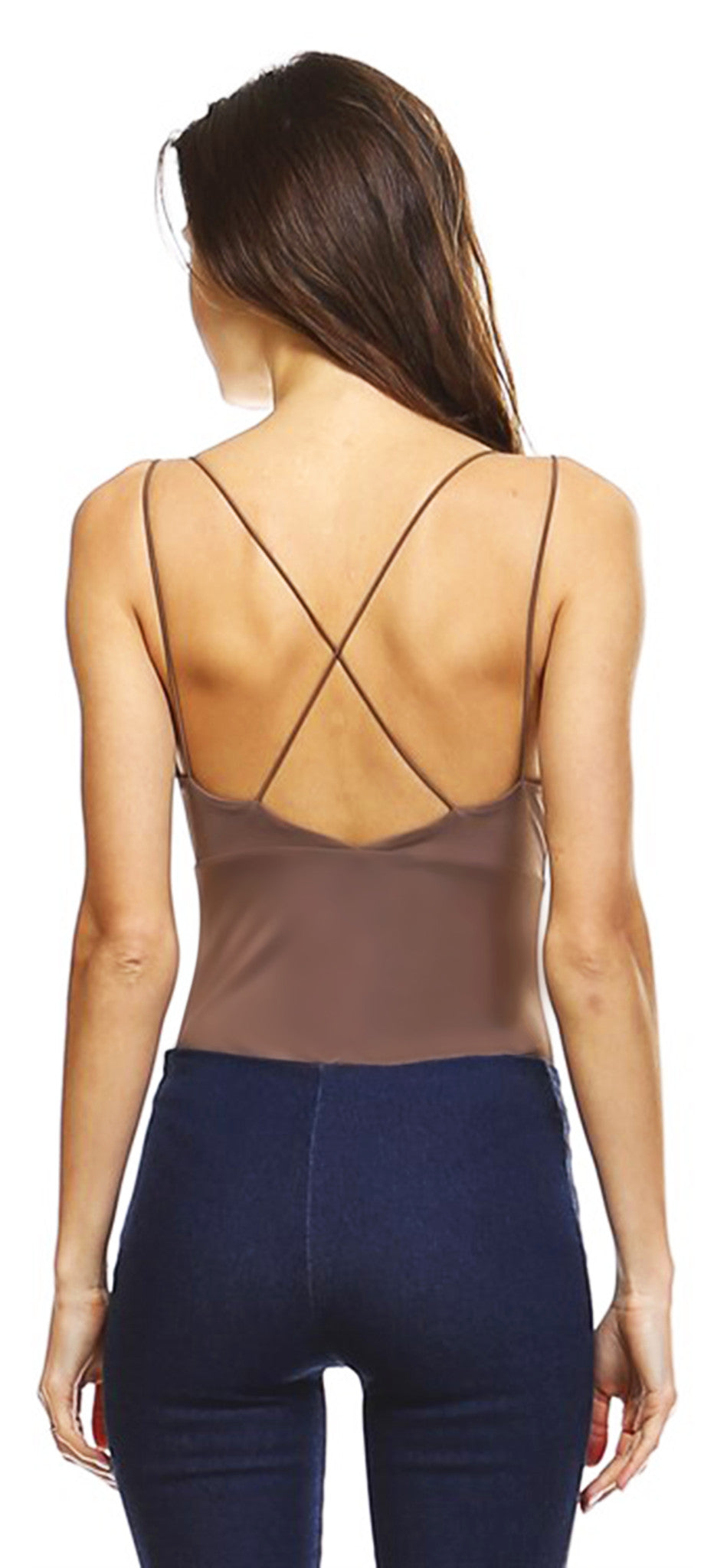 Mocha Deep V Cross Back Bodysuit - Emprada